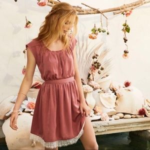 LC Lauren Conrad Lace Hem Pleated Neck  Dress NWT